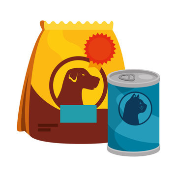 bag of food for dog and food for cat in can vector illustration design