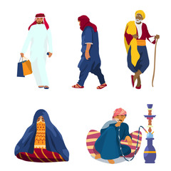 Vector set of Middle Eastern people in traditional clothes. Arab man with pockets, old man in turban with stick, sitting woman, man smoking hookah.