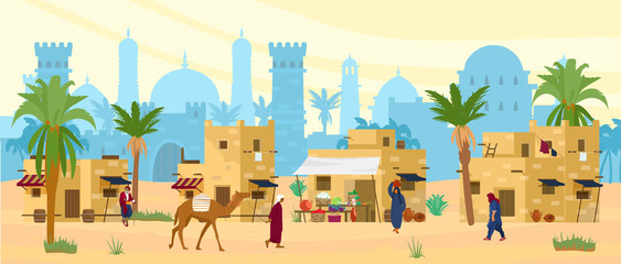Poster Beige Arabic desert landscape with traditional mud brick houses and people. Ancient temple at the background. Bedouin with camel, woman with jug on head. Flat vector illustration.