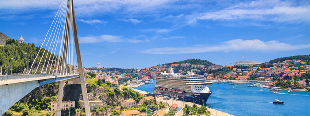 Coastal summer landscape, banner - view of Dubrovnik from the side of The Franjo Tudman Bridge, on the Adriatic coast of Croatia