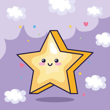 star magic kawaii with cute decoration design