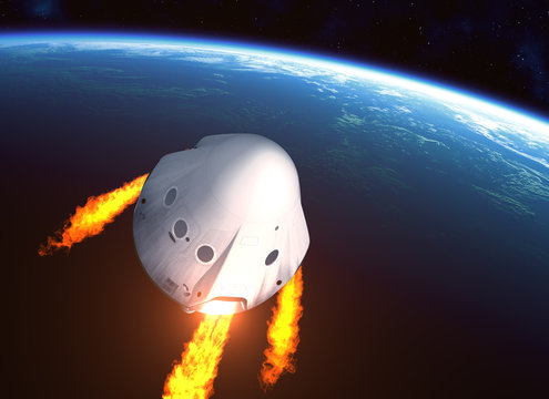 New Private Spacecraft Module Orbiting Planet Earth