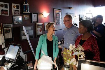 U.S. Democratic presidential candidate Senator Elizabeth Warren orders lunch with her husband, Bruce Mann, and Allison Stevens, a DNC committeewoman from Nevada, at EllaEm's Soul Food in North Las Vegas