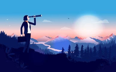 Business woman with binocular searching for opportunities - Female manager standing in a landscape with sunrise looking for solutions. Business outlook, female leader, strategy concept. Illustration.