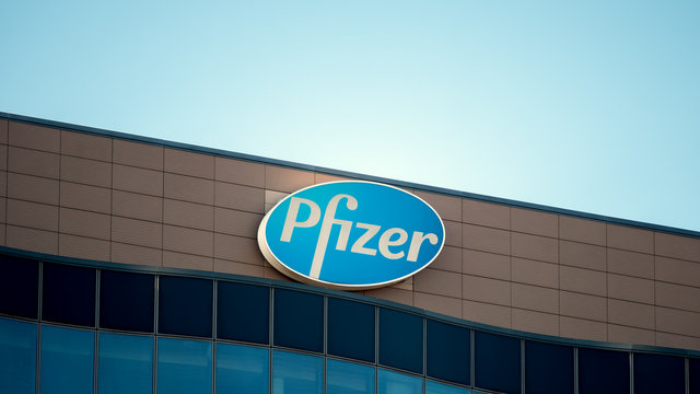 Logo of Pharmaceutical Corporation Pfizer At The German Headquarters In Berlin