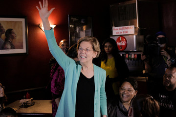 U.S. Democratic presidential candidate Senator Warren greets customers at EllaEm's Soul Food in North Las Vegas