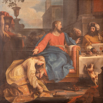 RAVENNA, ITALY - JANUARY 28, 2020: The painting of scene The Supper Of Jesus By Simon The Pharisee from the chruch Chiesa di Santa Maria Maddalena by Tommaso Maria Sciacca (1734 - 1795).