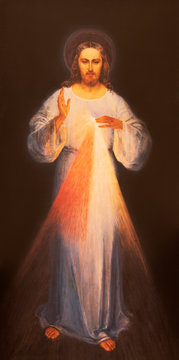 RAVENNA, ITALY - JANUARY 28, 2020: The painting of traditional Divine Mercy of Jesus the chruch Chiesa di Santa Maria Maddalena.