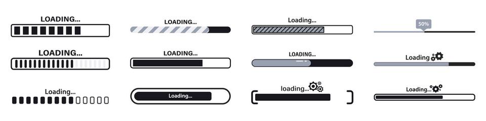 Fototapeta Progress loading bar. Load sign vector illustration. Set of connecting indicators. Collection Loading status , progress visualization web design elements on background. Download progress obraz