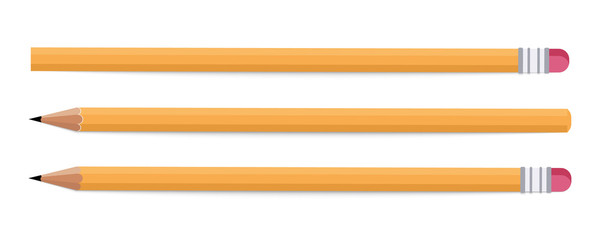 Stationery - Pencils. Wood pencil on a white background. Pencil various length
