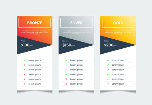 price list table template with 3 columns, web price ui. comparative table of product, infographic table layout vector.
