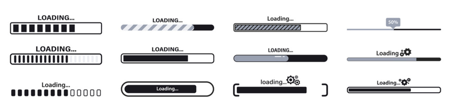 Progress loading bar. Load sign vector illustration. Set of connecting indicators. Collection Loading status , progress visualization web design elements on background. Download progress