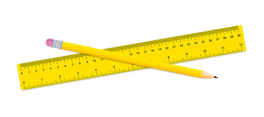 Pencil and ruler. Stationery - ruler, and wood Pencil on a white background