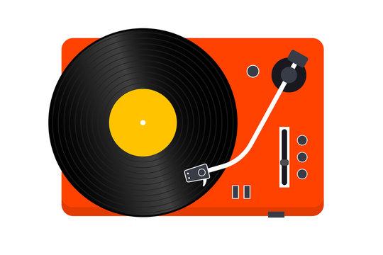 Vinyl Record player. Player for vinyl record. Retro design. Front view. Vinyl record disc