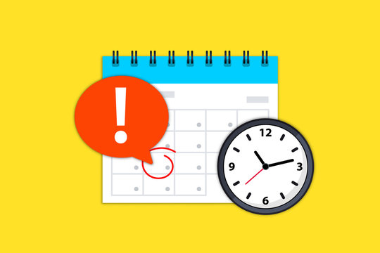 Calendar and clock icon. Calendar date deadline notification. Appointment, schedule, important date. Time and date. Deadline on a calendar, event notification. Event reminder scheduled on agenda