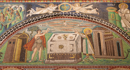 Wall Mural - RAVENNA, ITALY - JANUARY 28, 2020: The mosaic of The offer of Melchizedek  in presbytery of the church Basilica di San Vitale from the 6. cent.