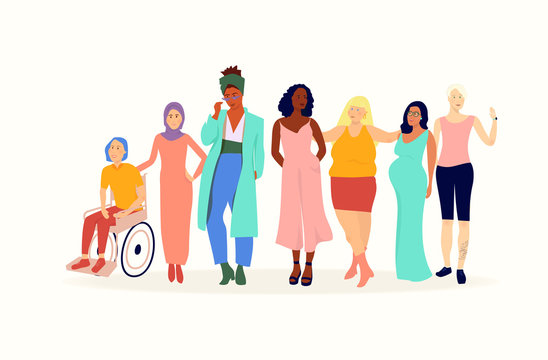 Set of diverse women characters body strong , equal rights, ethinicities and backgrounds, flat vector cute colourful fun style banner text concept for lifestyle, magazine, international womens day