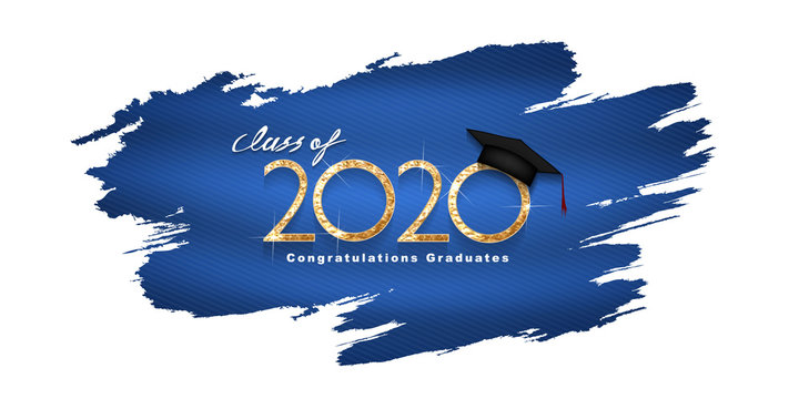 Vector text for graduation gold design, congratulation event, T-shirt, party, high school or college graduate. Lettering Class of 2020 for greeting, invitation card