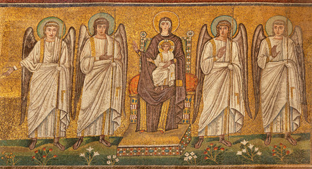 Wall Mural - RAVENNA, ITALY - JANUARY 28, 2020: The mosaic of Madonna among the angels from church Basilica of Sant Apolinare Nuovo from the 6. cent.