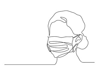 One continuous line drawing  medical face mask.