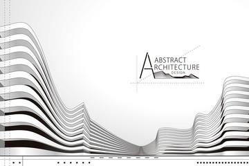 Obraz 3D illustration architecture building construction perspective design, abstract modern urban landscape background. - fototapety do salonu