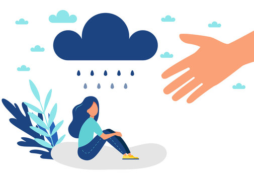 Depressed woman, mental health, depression concept, vector illustration. .