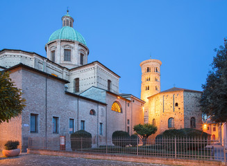 Wall Mural - Ravenna - The Duomo (cathedral) and the baptistery Battistero Neoniano at dusk.