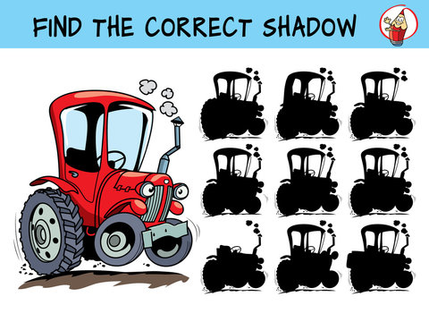 Funny red tractor. Find the correct shadow. Educational matching game for children. Cartoon vector illustration
