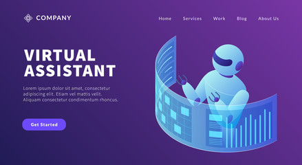 virtual assistant robot concept to do list and graph chart data information for website template or landing homepage Wall mural