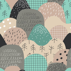 Cute seamless pattern with hills and mountains. Nordic nature landscape concept. Perfect for kids fabric, textile, nursery wallpaper.