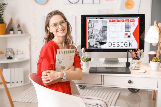 Portrait of female interior designer in office