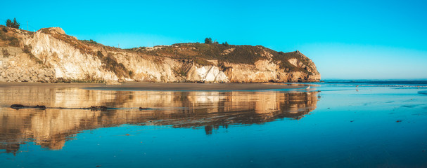 Avila Beach cliffs at sunset, panorama. San Luis Obispo County, beautiful Central Coast of California
