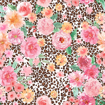 Pink flowers and leopard print seamless pattern, watercolor animal and floral background
