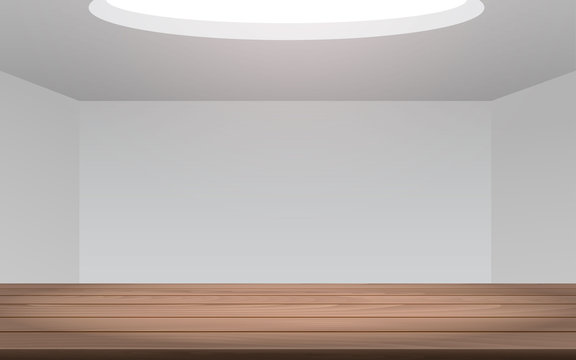 sunlight on the wooden table in the white room