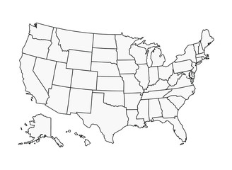 US Map Vector Outline State Boundaries Wall mural
