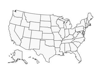 US Map Vector Outline State Boundaries Fotobehang