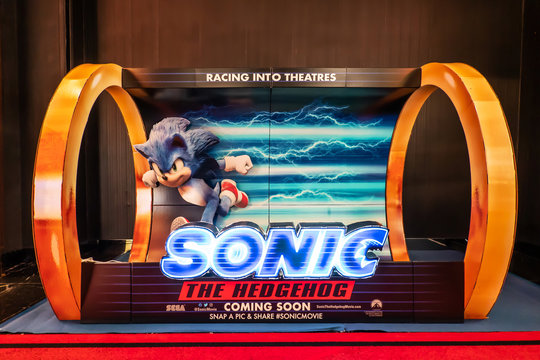 BANGKOK, THAILAND, 20 Feb 2020 - A beautiful standee of a movie called Sonic the hedgehog display at the cinema to promote the movie