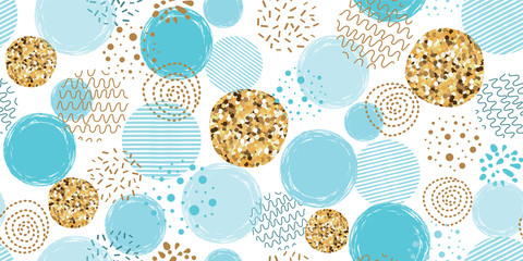 Boys blue dotted seamless pattern Polka dot abstract background blue glitter gold circles Vector pink print