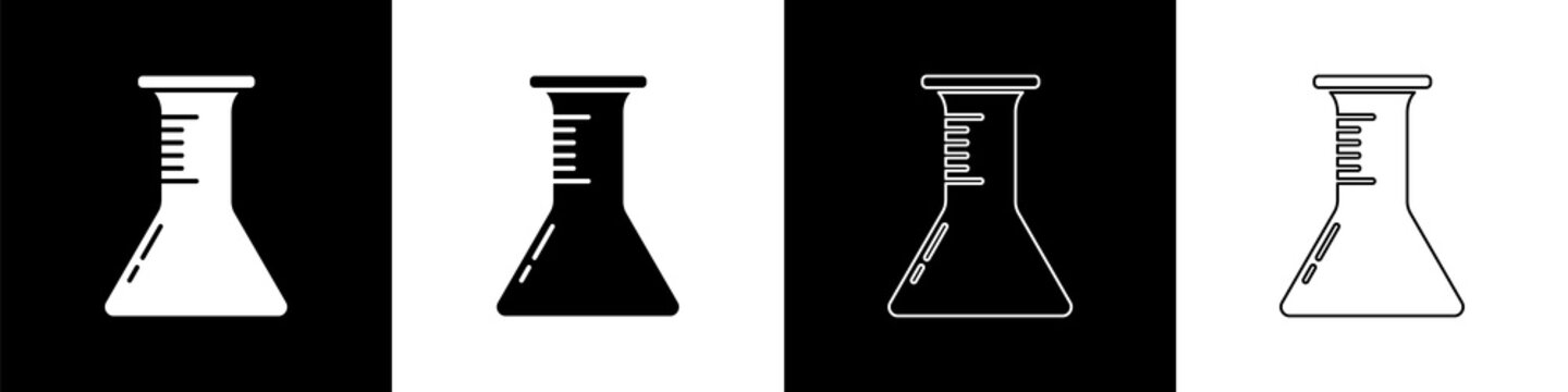 Set Test tube and flask icon isolated on black and white background. Chemical laboratory test. Laboratory glassware. Vector Illustration