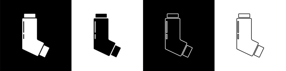 Set Inhaler icon isolated on black and white background. Breather for cough relief, inhalation, allergic patient. Medical allergy asthma inhaler spray. Vector Illustration