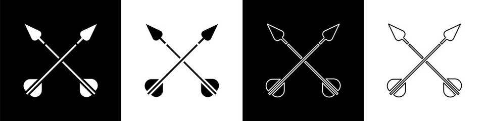 Set Crossed arrows icon isolated on black and white background. Vector Illustration
