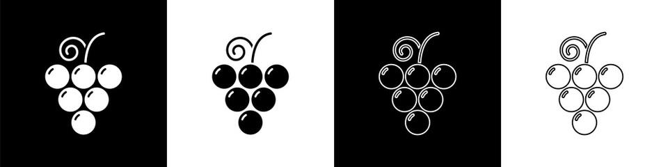 Set Grape fruit icon isolated on black and white background. Vector Illustration Fototapete