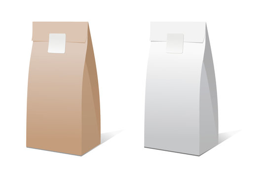 Craft paper bag packaging template isolated on white background. Brown and white Packaging template mock-up collection. Stand-up pouch Half Side view package.