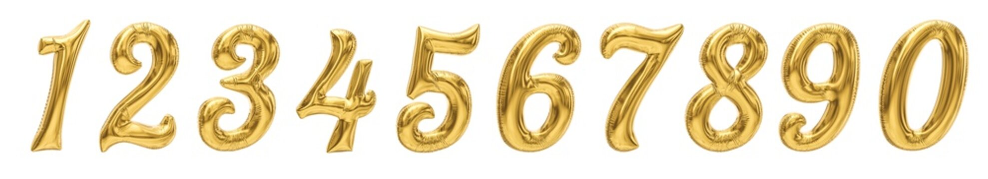 Golden Number Balloons from 0 to 9. Helium ballons made of foil or latex. Realistic birthday party baloons. Isolated on white