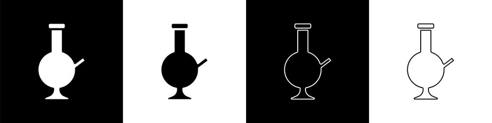 Set Glass bong for smoking marijuana or cannabis icon isolated on black and white background. Vector Illustration