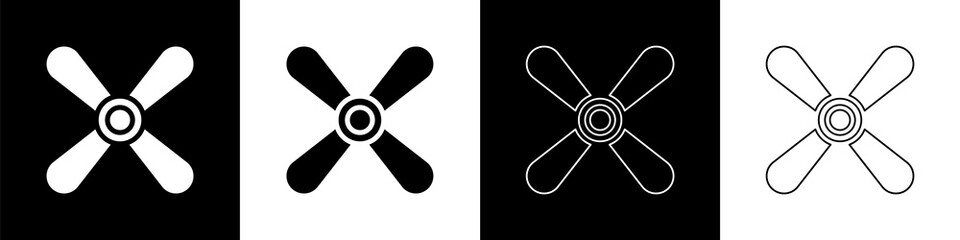 Set Plane propeller icon isolated on black and white background. Vintage aircraft propeller. Vector Illustration Wall mural