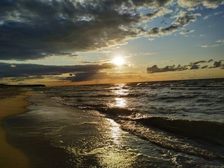 morze, woda, Bałtyk, Morze Bałtyckie, Międzywodzie, zachód słońca, słońce, zachód