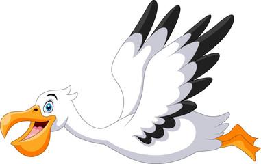 Caute cartoon pelican is flying Fototapete