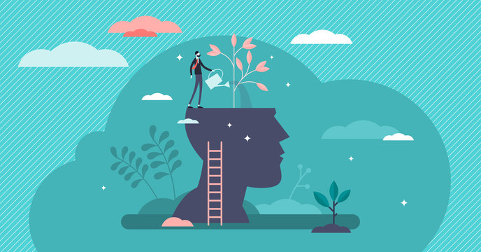 Mind growth progress concept, flat tiny person vector illustration
