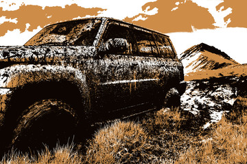 Adventure travel concept background. 4x4 off-road suv car stuck in mud. Adventure travel concept background. Offroad car. Wall mural